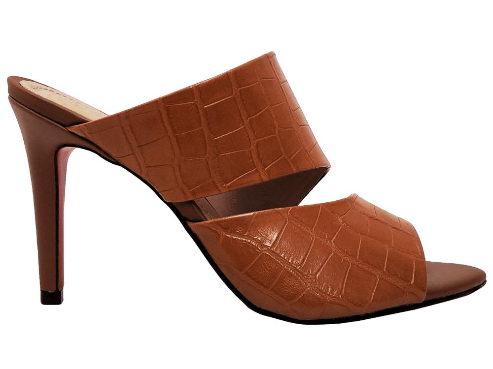 Sandália napa croco caramelo 9cm Cód.840