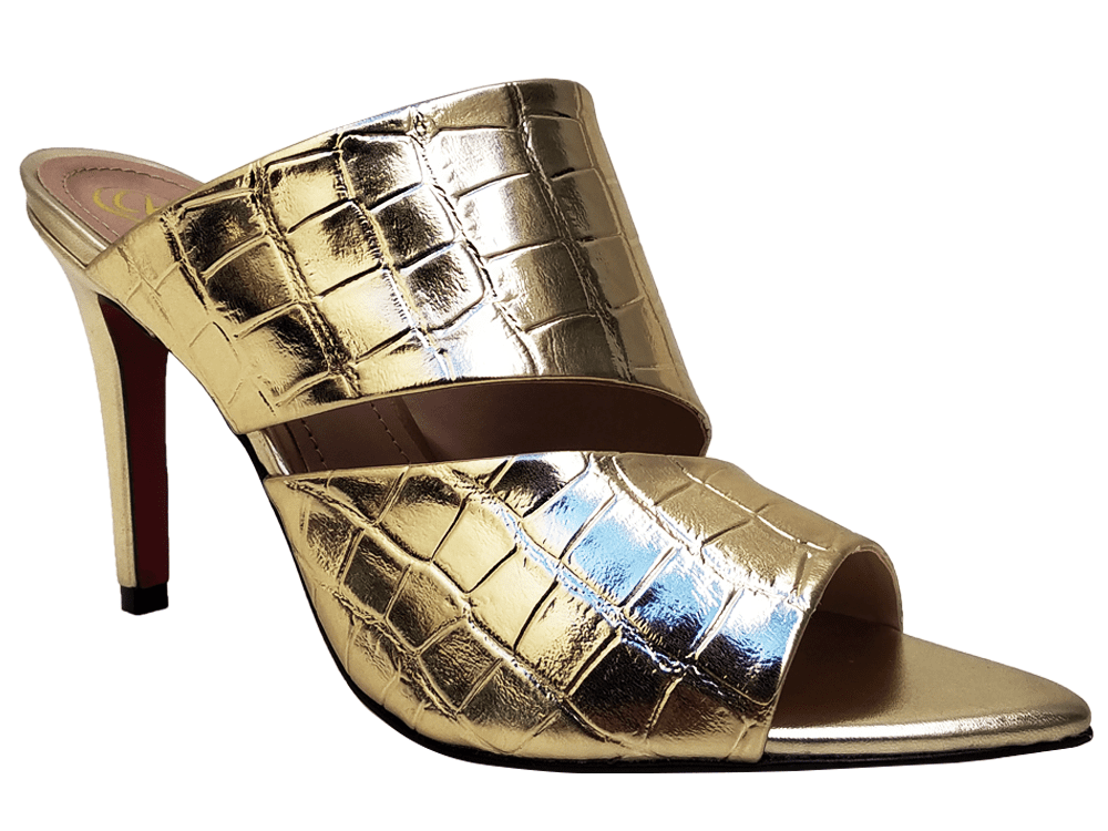 Sandália napa croco ouro 9cm Cód.843