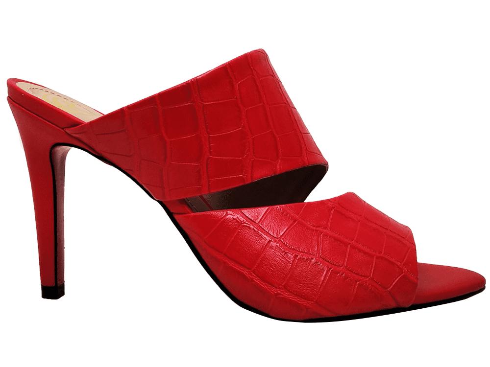 Sandália napa croco vermelho 9cm Cód.842