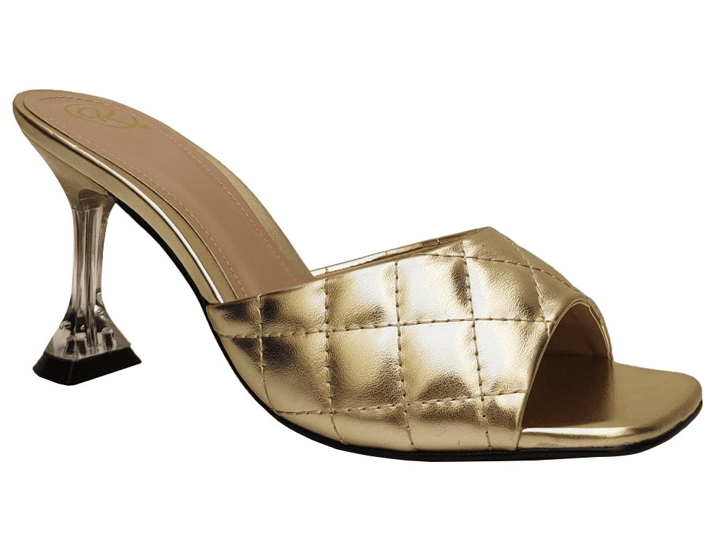 Sandália napa ouro 9cm Cód.967