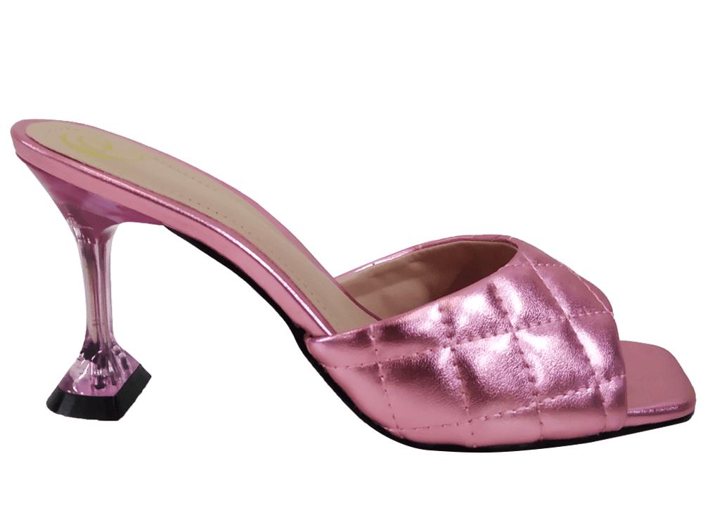 Sandália napa rosa 9cm Cód.1042