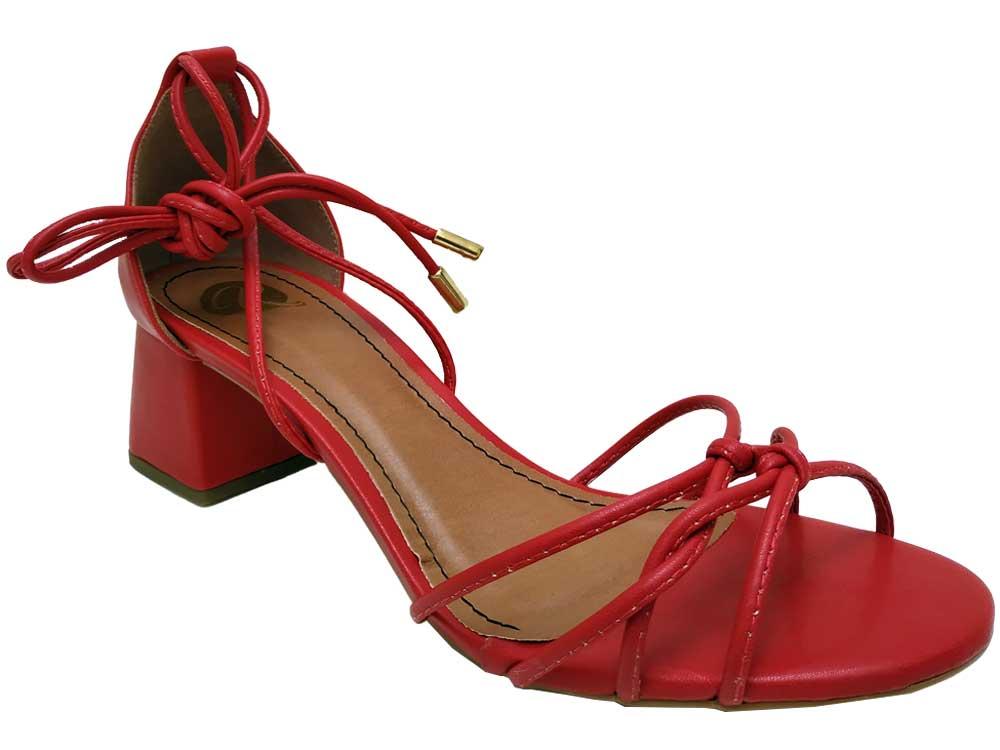 Sandália napa vermelho 5cm Cód.572