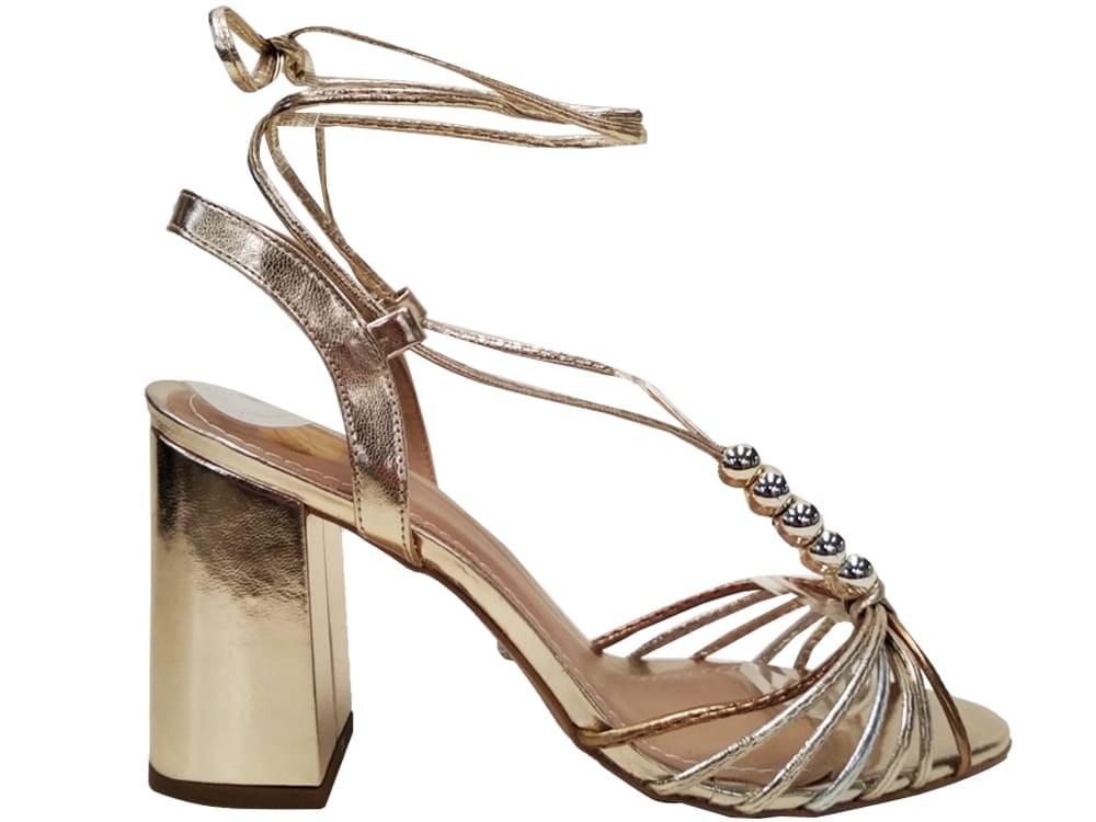Sandália ouro cobre salto 9cm Cód.1050