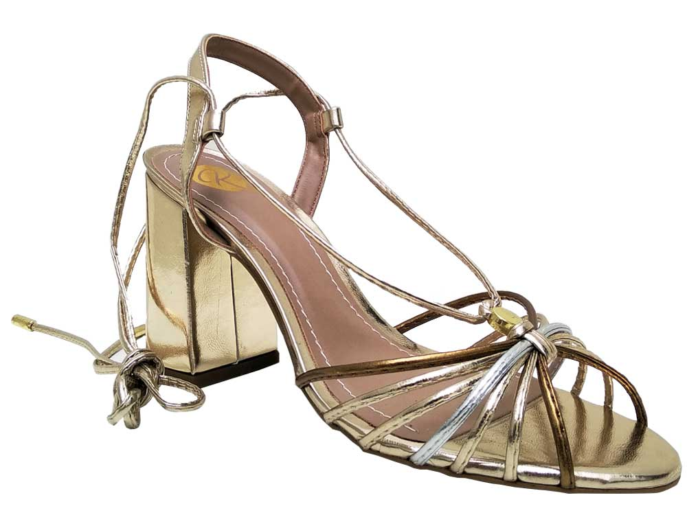 Sandália ouro cobre salto 9cm Cód.613