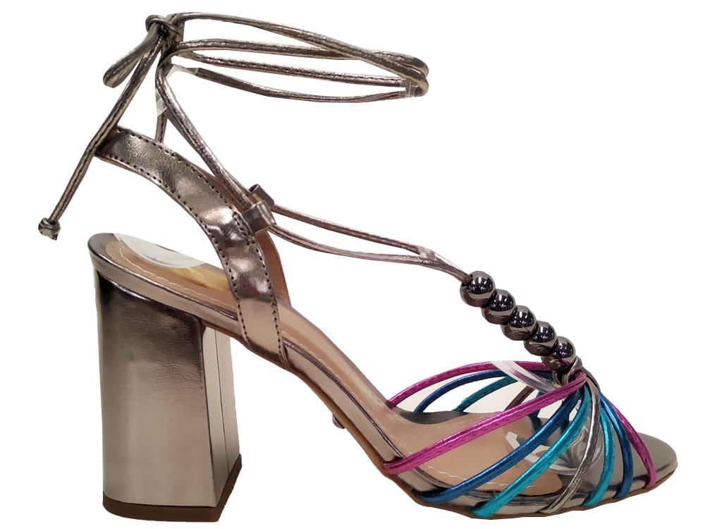 Sandália pewter colorido salto 9cm Cód.1051