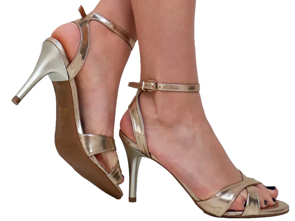 Sandália spechio ouro salto 8cm Cód.: 161