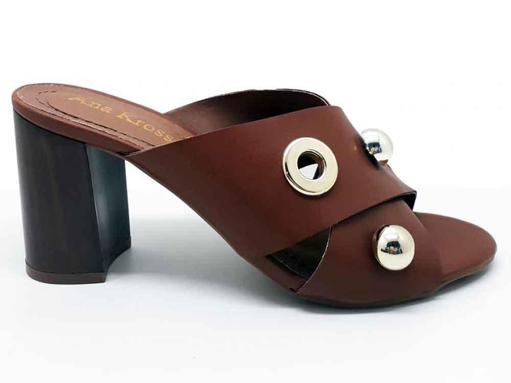 Sandália tamanco napa caramelo salto 8cm Cód.: 210