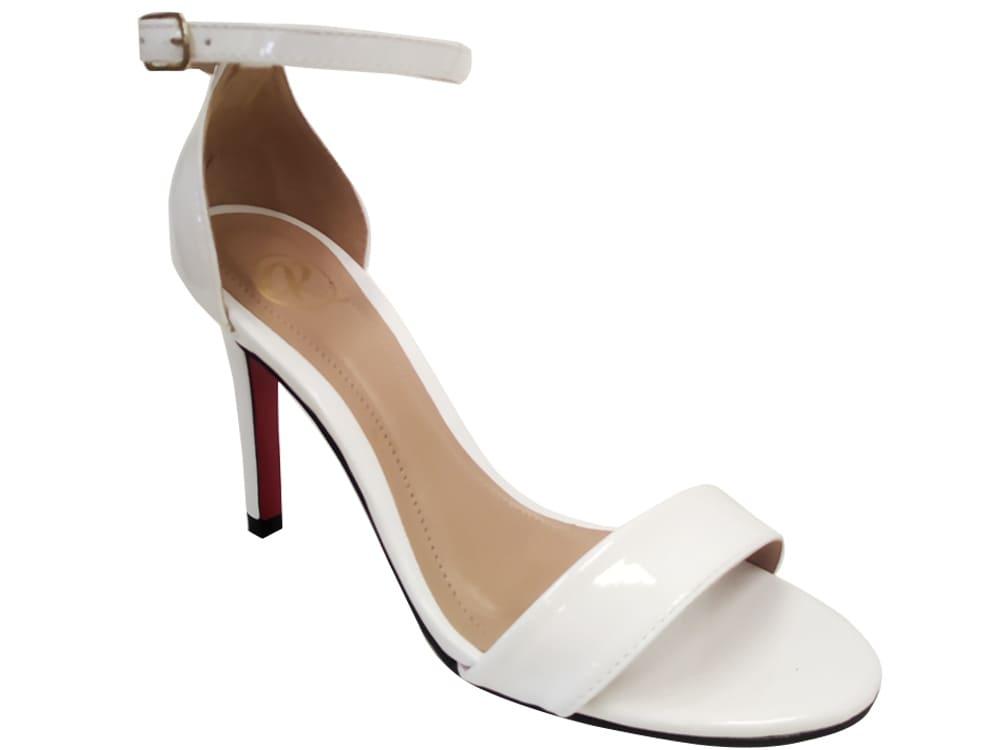 Sandália verniz branco 9cm Cód.1141