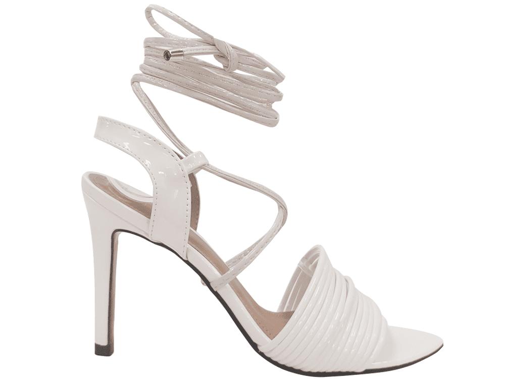 Sandália verniz branco 9cm Cód.1186