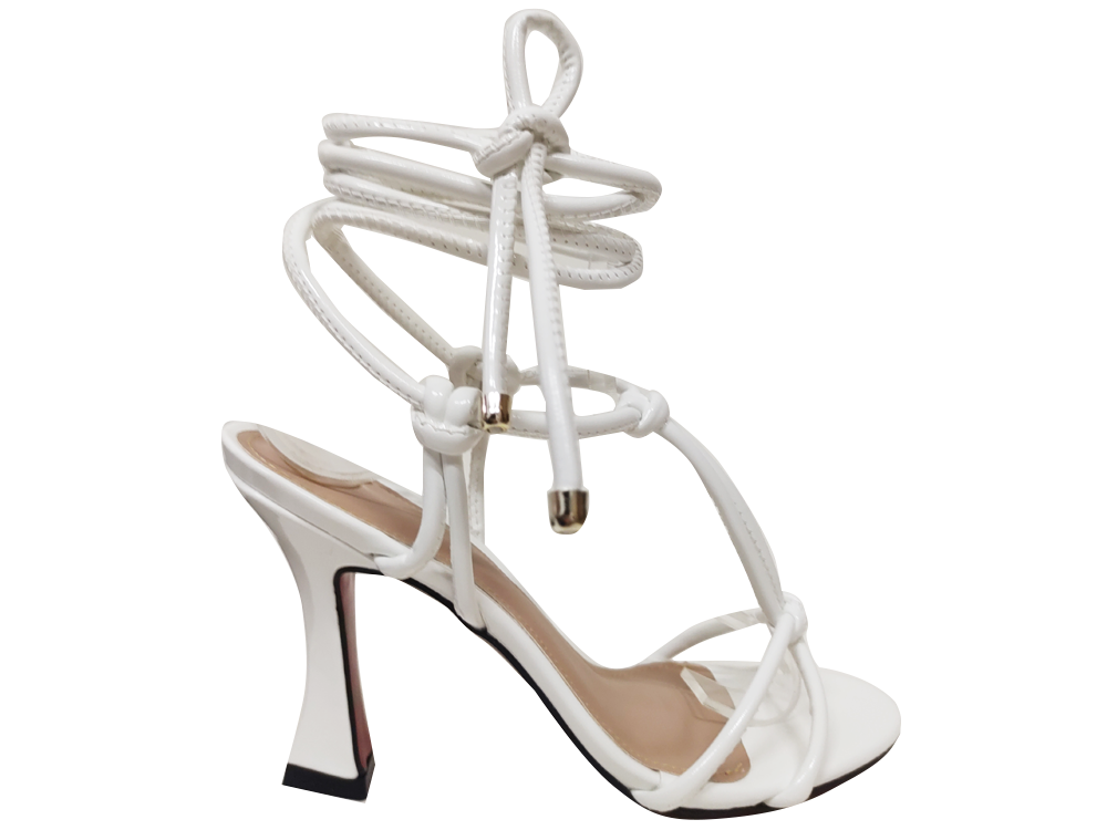 Sandália verniz branco 9cm Cód.1286