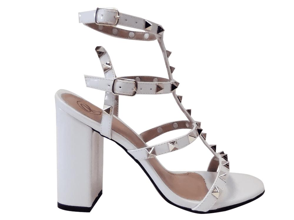Sandália verniz branco 9cm Cód.1336