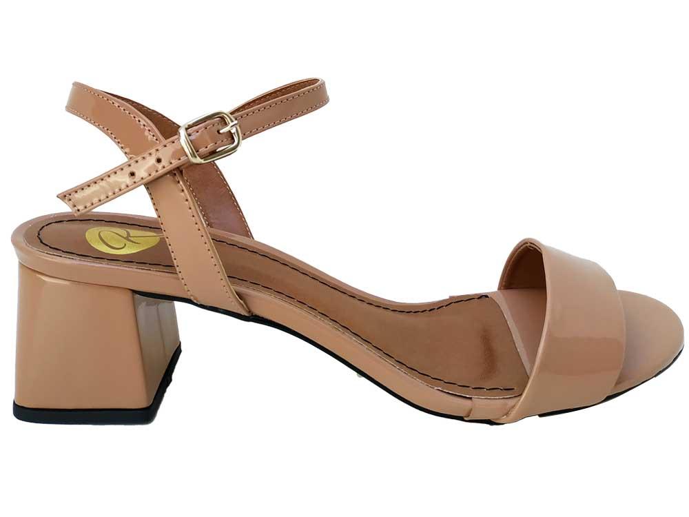 Sandália verniz nude 5cm Cód.568