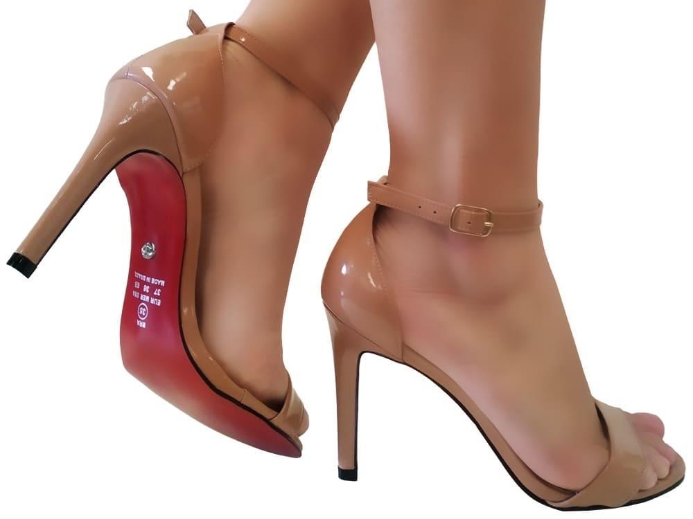 Sandália verniz nude 9cm Cód.1142