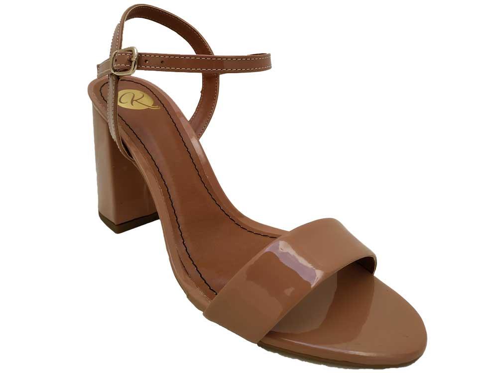 Sandália verniz nude  9cm Cód.549