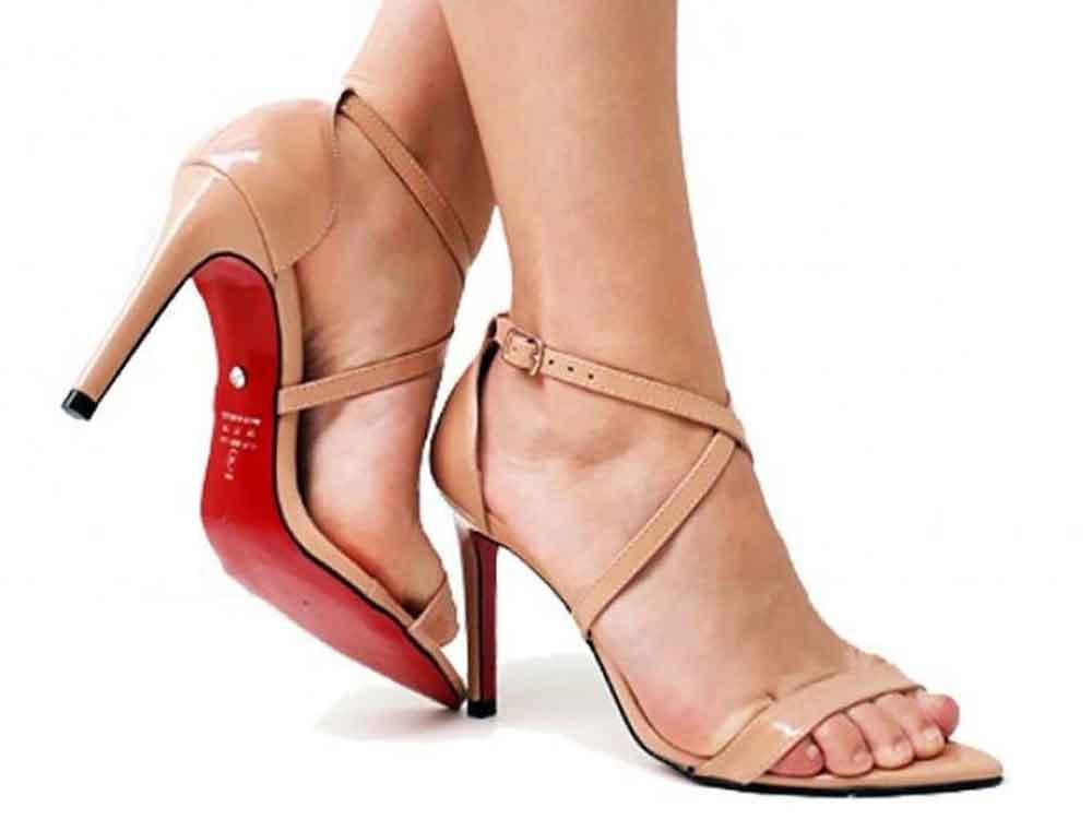 Sandália verniz nude salto 10cm  Cód.: 452