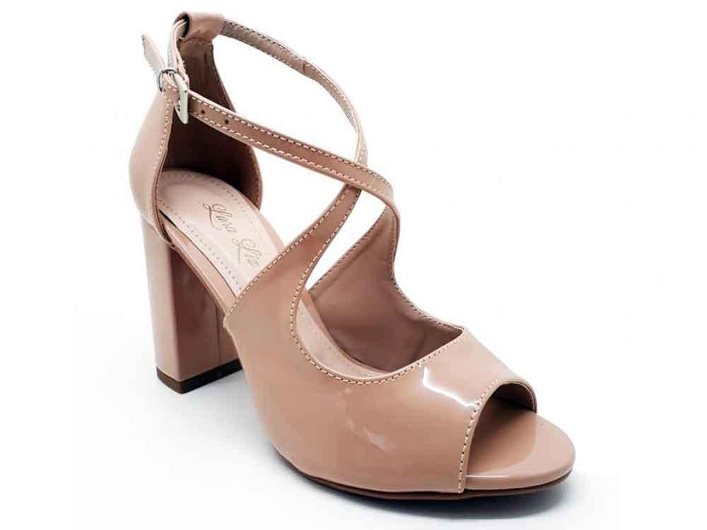Sandália verniz nude salto 9cm Cód.: 034