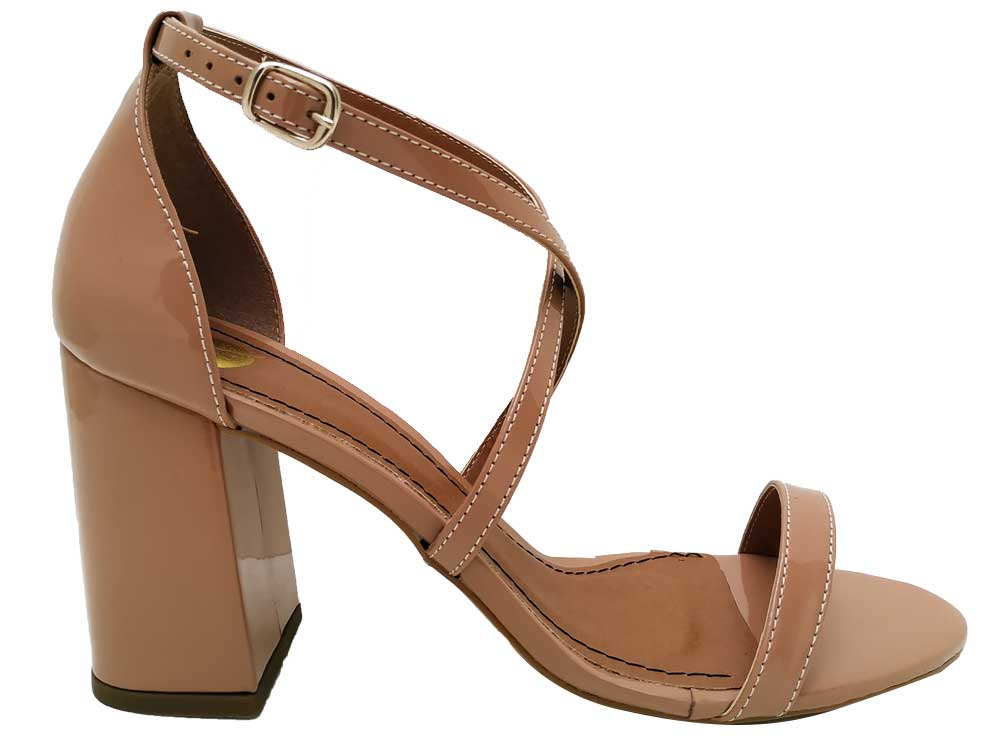 Sandália verniz nude salto 9cm Cód.544