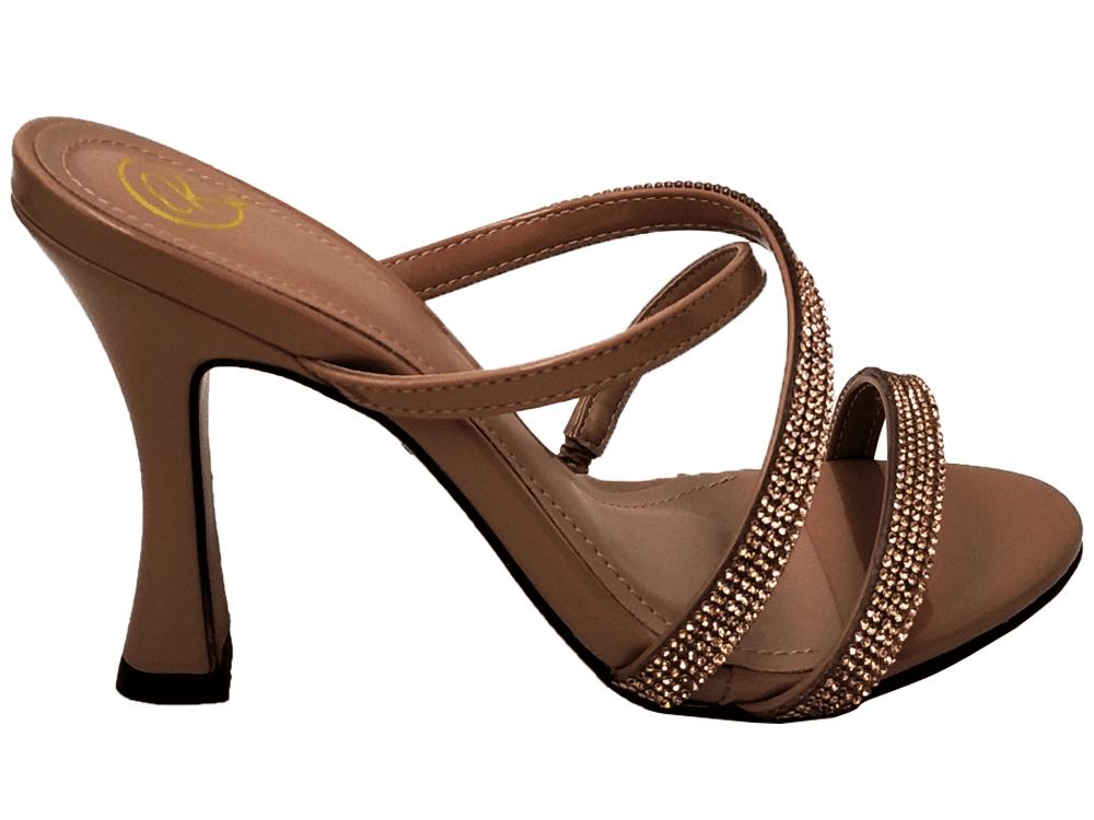 Sandália verniz nude / strass 9cm Cód.898