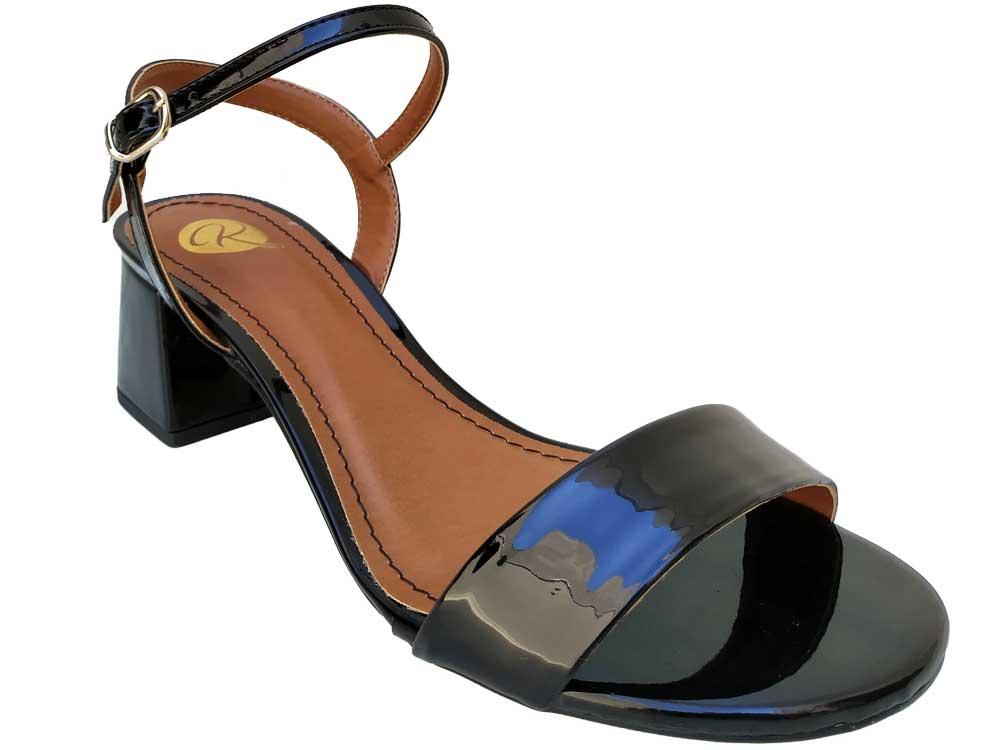 Sandália verniz preto 5cm Cód.566
