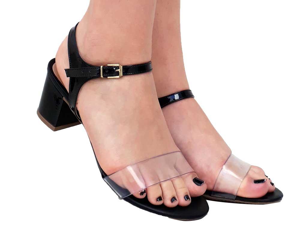 Sandália verniz preto salto 5cm  Cód.: 385