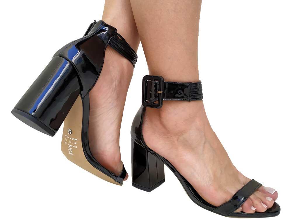 Sandália verniz preto salto 9cm Cód.543