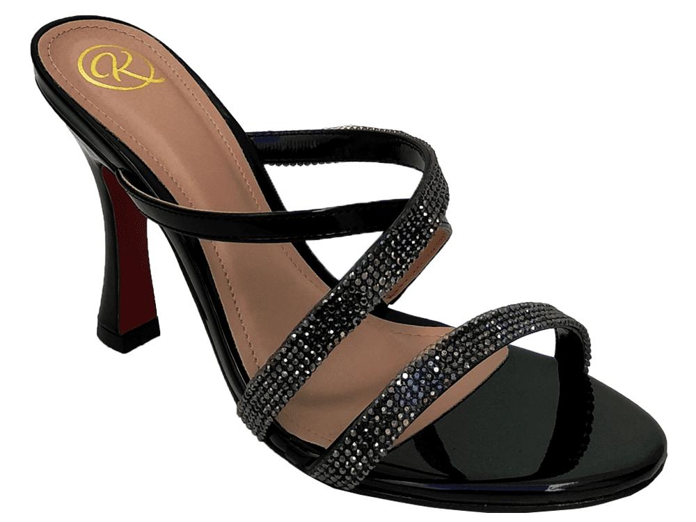 Sandália verniz preto / strass 9cm Cód.899