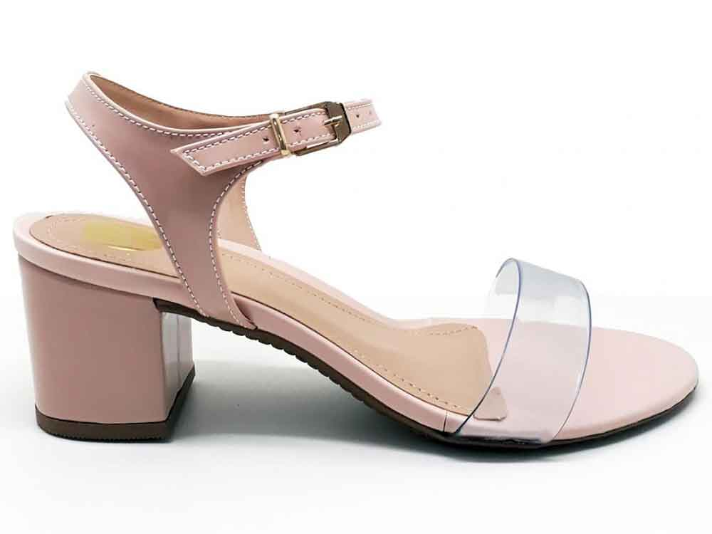 Sandália verniz rosa salto 5cm  Cód.: 387