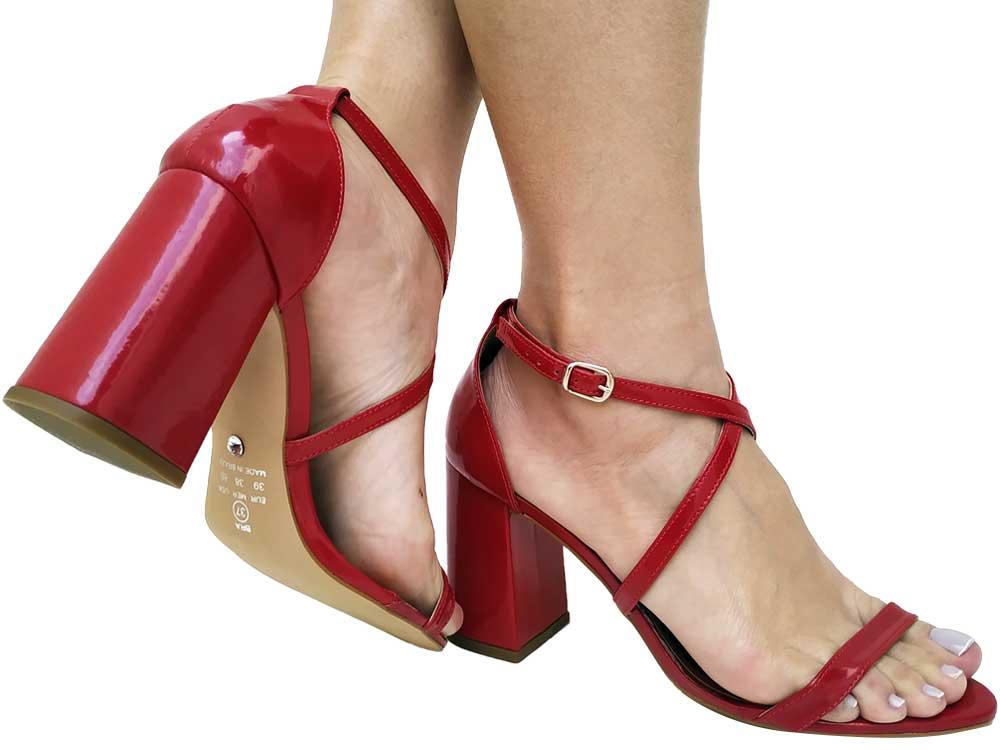 Sandália verniz vermelho 9cm Cód.547