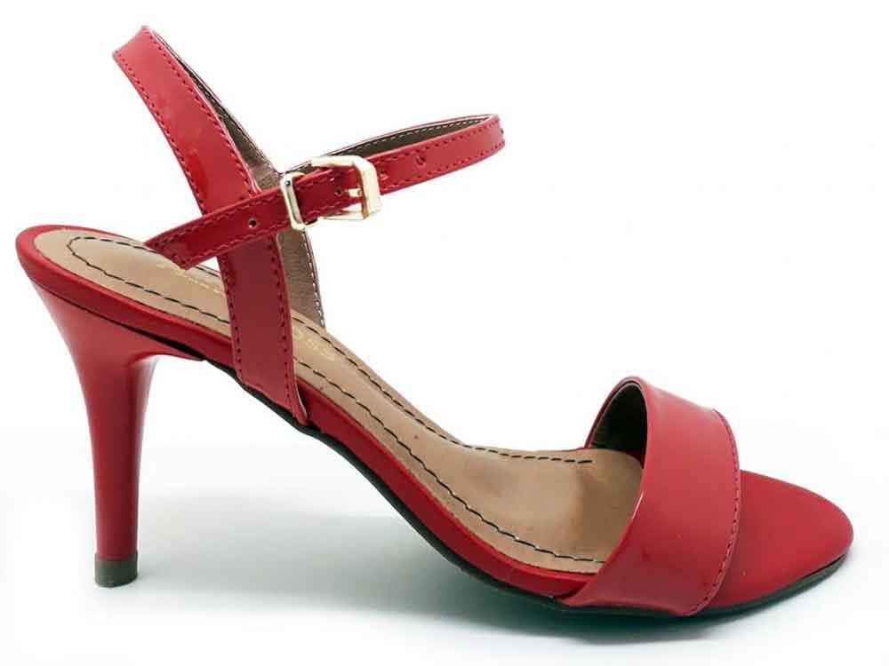 Sandália verniz vermelho salto 9cm Cód.: 163
