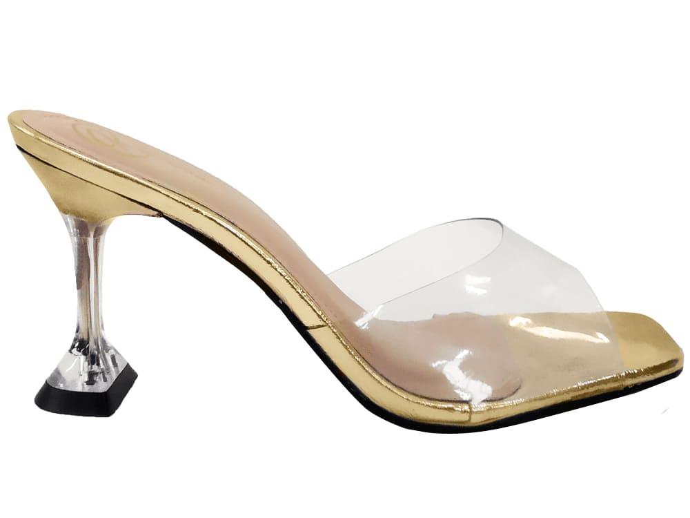 Sandália vinil cristal ouro 9cm Cód.1068