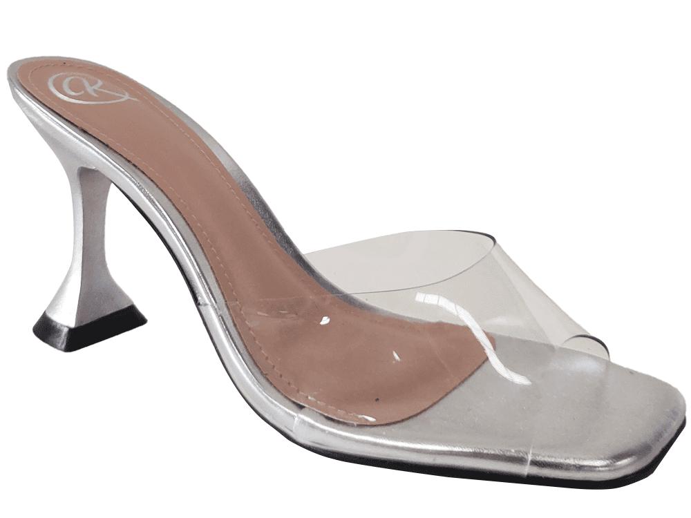 Sandália vinil cristal / prata 9cm Cód.1164