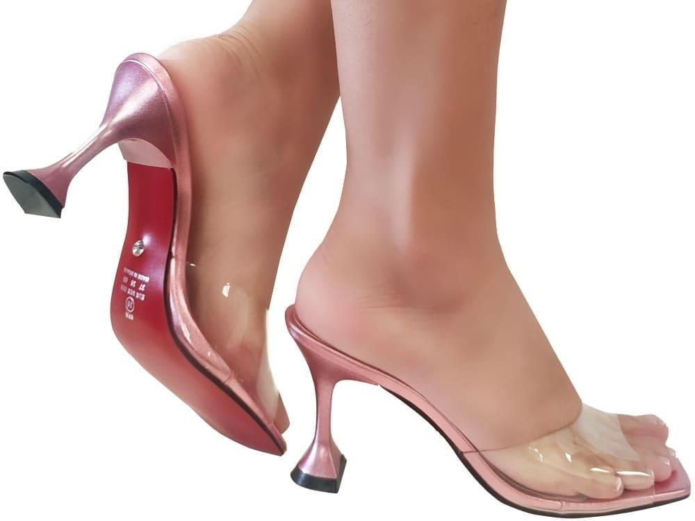 Sandália vinil cristal / rosa 9cm Cód.1163