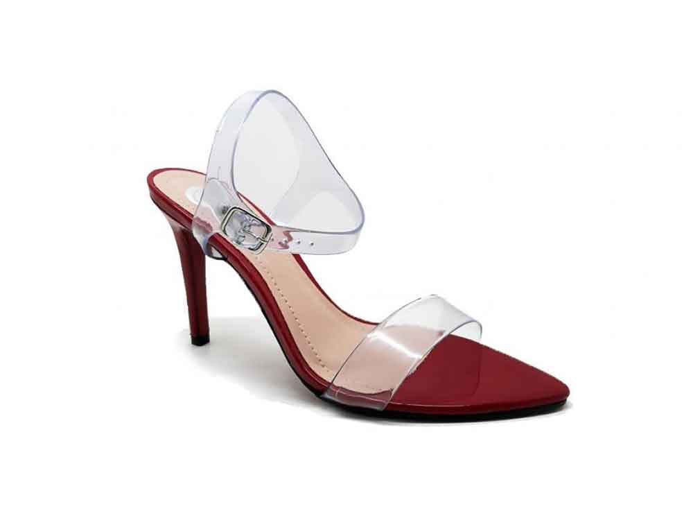 Sandalia vinil cristal vermelho salto 10cm  Cód.: 441
