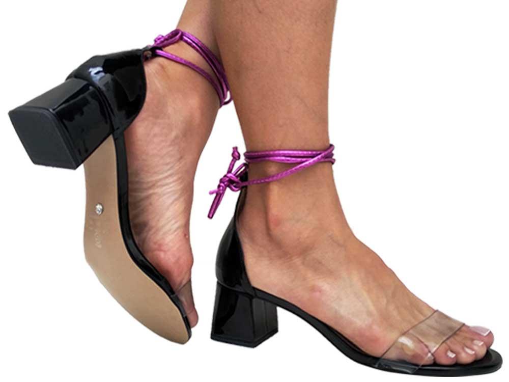 Sandália vz preto cordão pink 5cm Cód.644