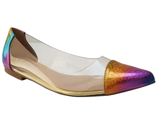 Sapatilha gliter arco-iris /vinil Cód.994