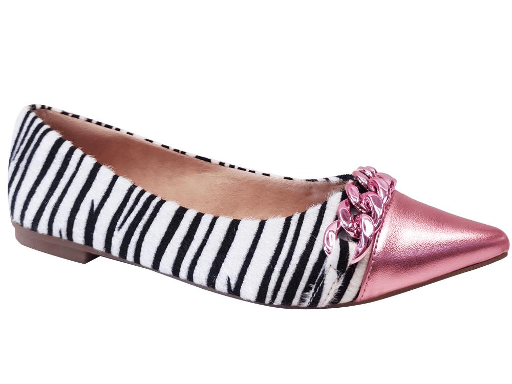 Sapatilha pelo zebra / rosa Cód.1300