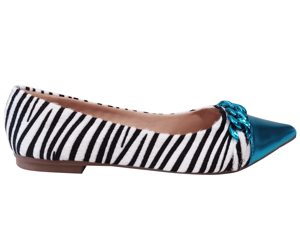 Sapatilha pelo zebra / turquesa Cód.1299