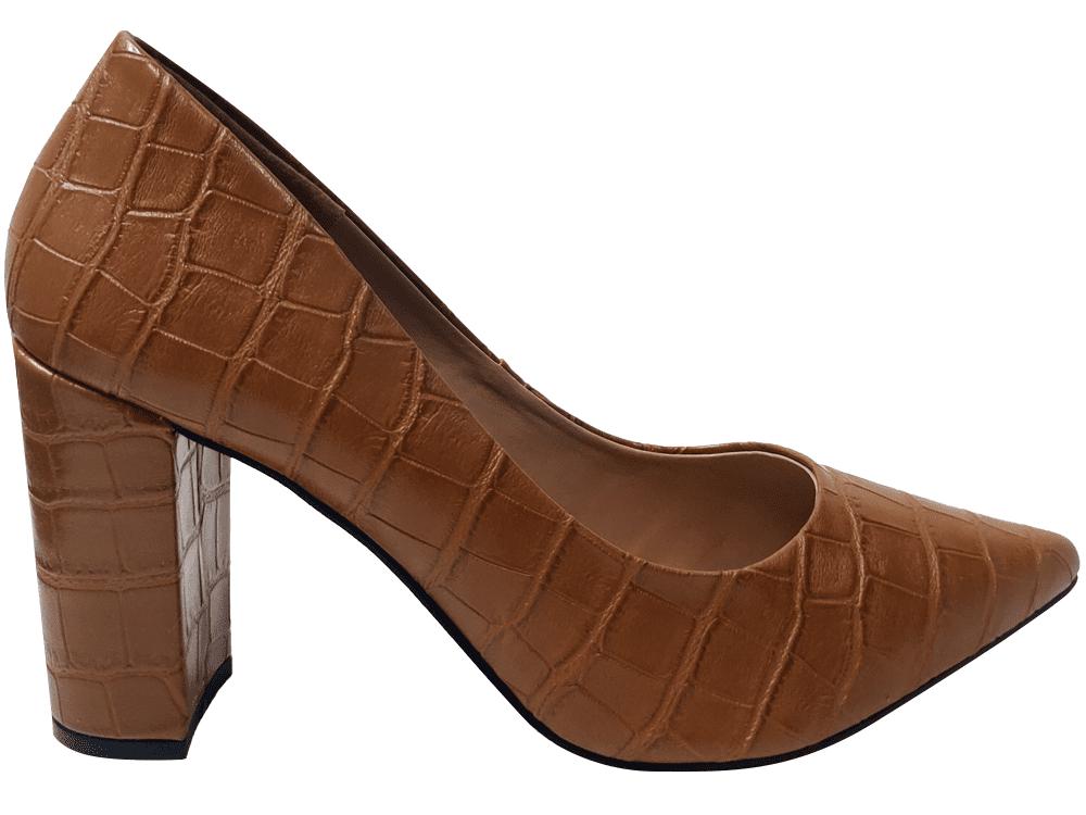Scarpin croco caramelo salto 9cm Cód.: 1601