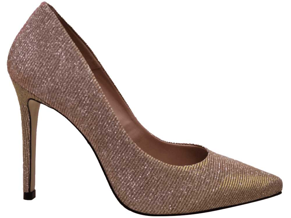 Scarpin glitter champagne salto 11cm  Cód.:659