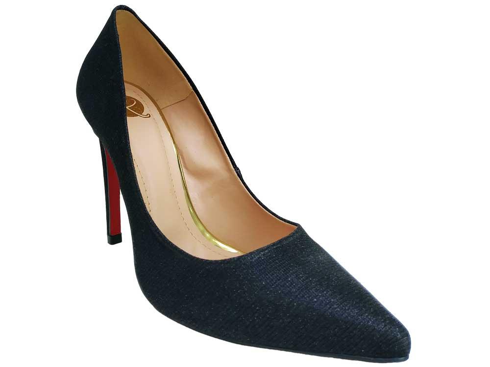 Scarpin luxor preto glitter salto 11cm  Cód.: 573
