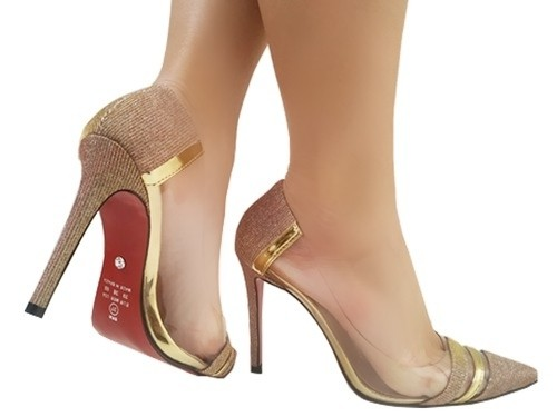 Scarpin Lx champagne vinil metal. ouro. 11cm  Cód.:791