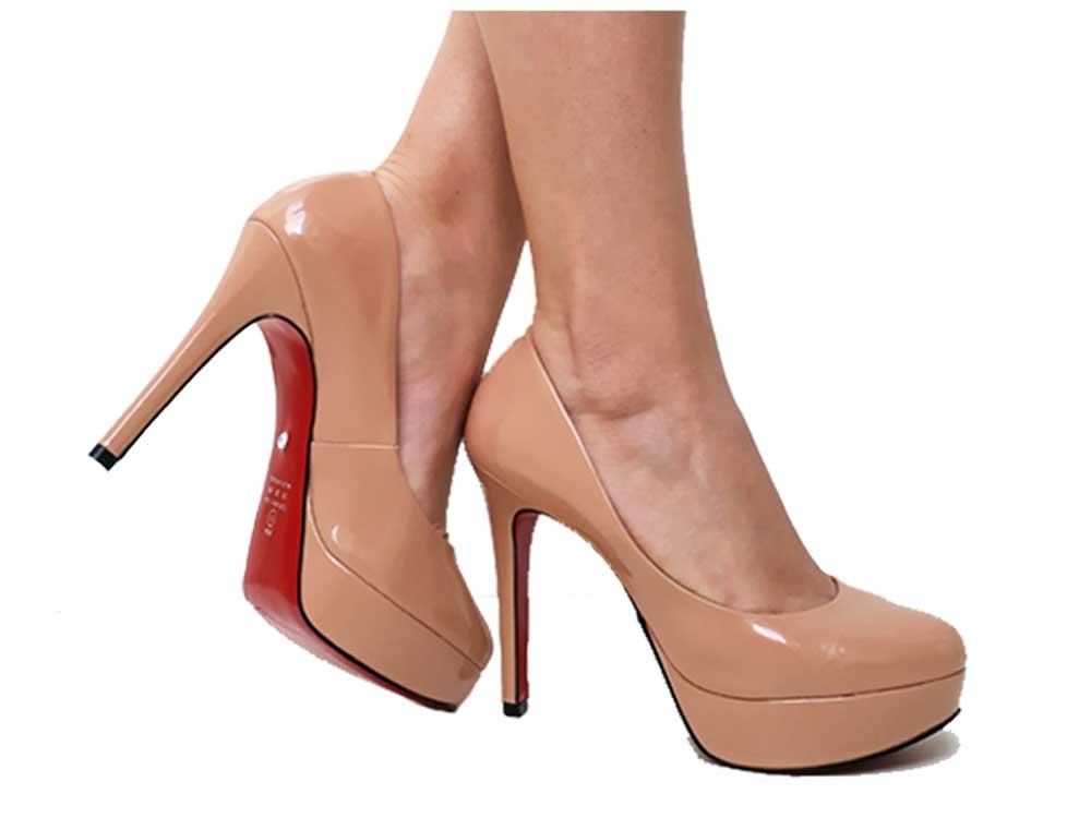 Scarpin meia-pata verniz nude salto 11cm Cód.490
