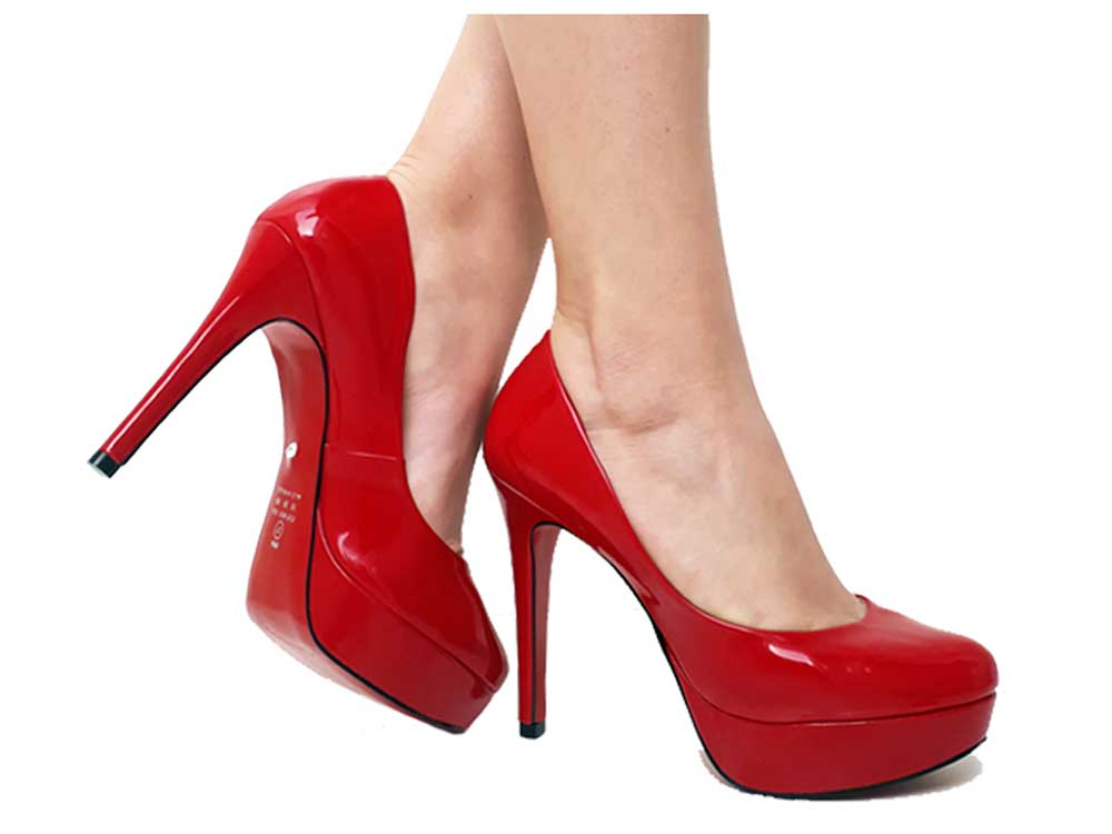 Scarpin meia-pata verniz vermelho salto 11cm Cód.489