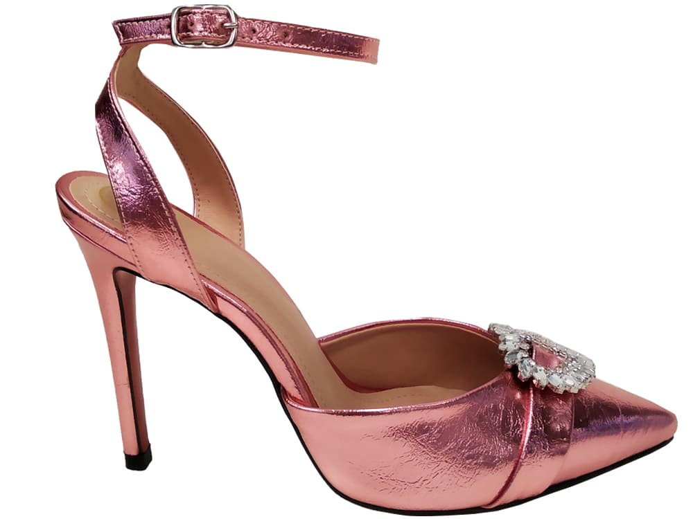 Scarpin metalizado rosa salto 11cm Cód.: 1058