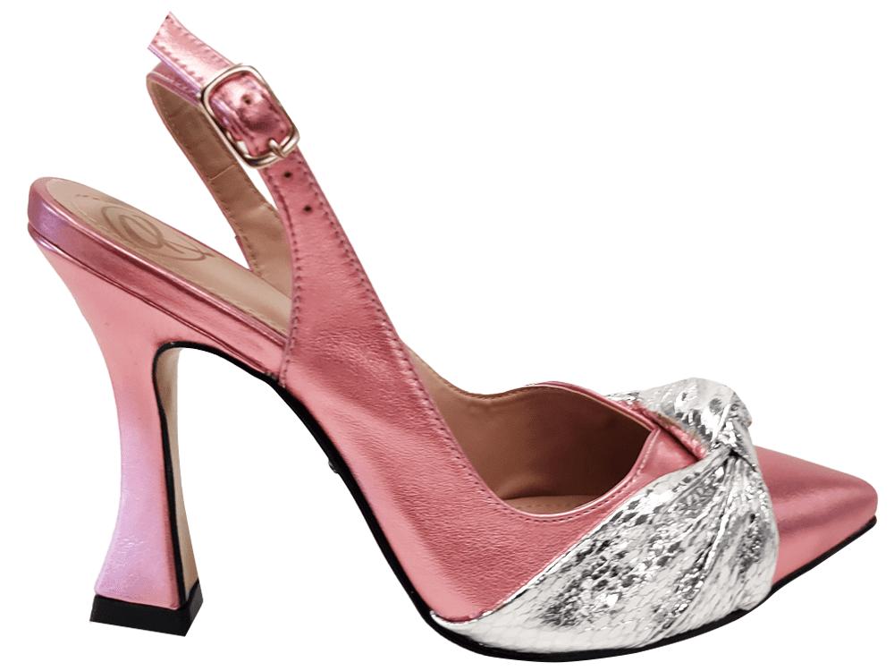 Scarpin metalizado rosa salto 9cm Cód.: 1167