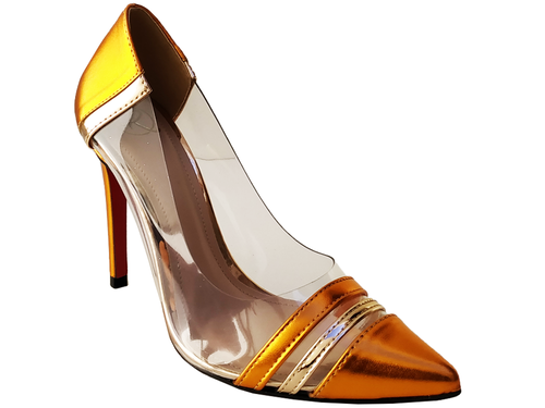 Scarpin napa met laranja vinil metal. cobre. 11cm  Cód.: 792
