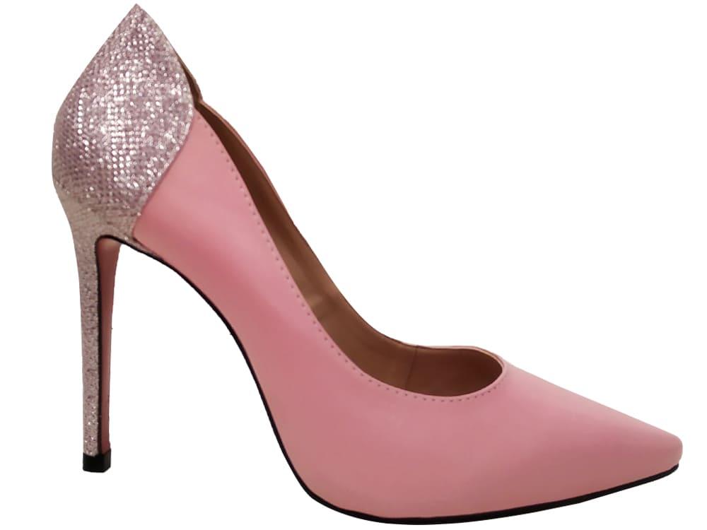 Scarpin napa rosa / gliter 11cm  Cód.:1056