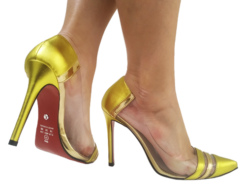 Scarpin np met amarelo vinil metal. ouro. 11cm  Cód.:793