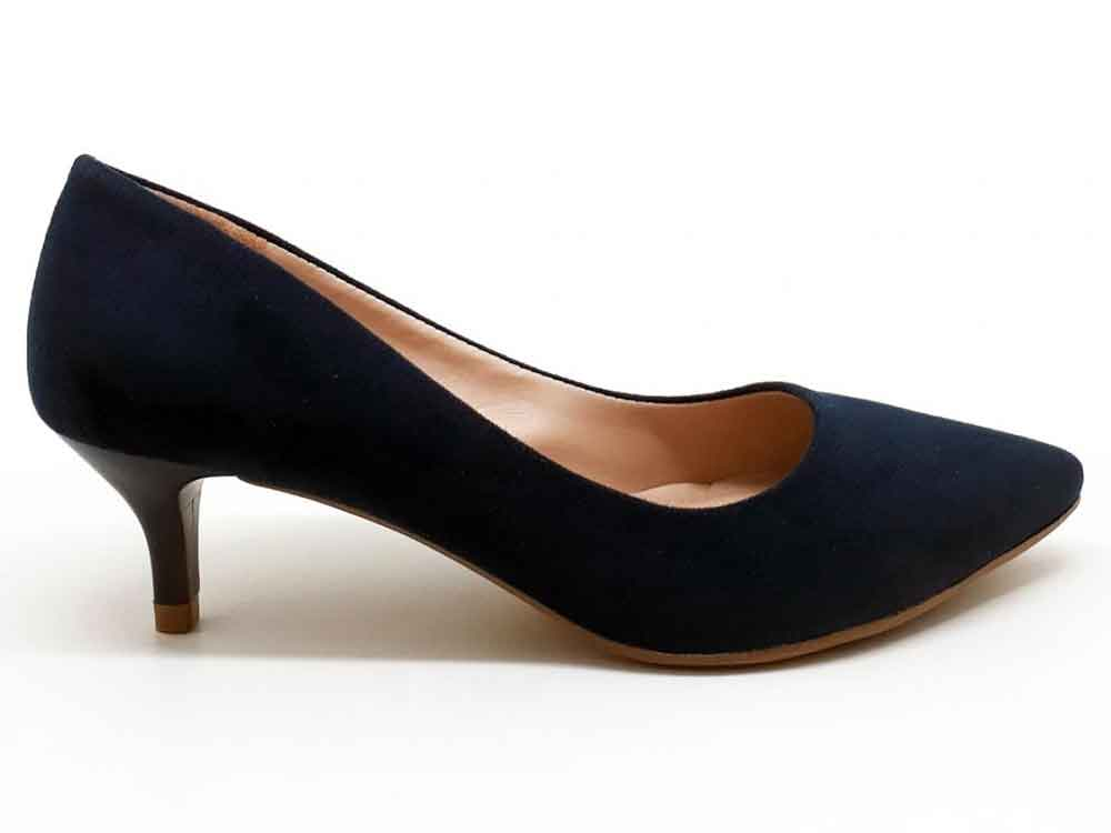 Scarpin suede azul marinho salto 5cm Cód.: 294
