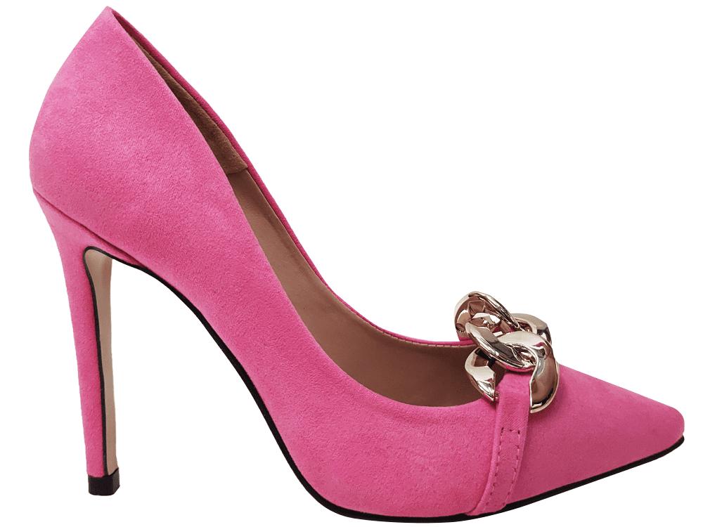 Scarpin suede rosa salto 11cm Cód.1424